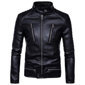 Mens Leather Jackets Bomber Jackets Fashion Men Faux Leather Overcoat Motorcycle Cowboy Jacket Punk Thick Coats Mens Clothing