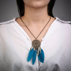 Fashion accessories jewelry Vintage Dream Catcher Leaves collier Pendant Necklace Girl Bib Chokers Pendants & Necklaces