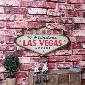 Las Vegas Sign Decorative Metal Plaque Bar Wall Decor Painting Illuminated Plate Welcome Arcade Neon LED Signs Q1107