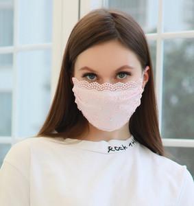 Fashion Face Mask Pearl кружева маска для взрослых Регулируемая пыле дышащий Тонкий Milk Silk Mask 4 цвета BWA1993