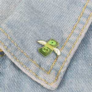 Cartoon Mini Banknotes Enamel Pins Green Dollar Angel Wings Symbol Brooch Men's and Women's Knitted Backpack Badge Accessories zdl0428.