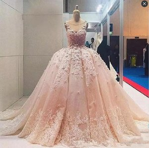 Soft Pink Ball Gown Prom Dresses Sheer Neck Sleeveless Flora Appliques Evening Gowns Saudi Arabic Formal Party Dress Custom Made