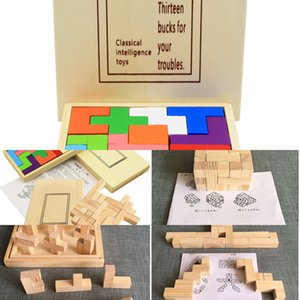 plywood Building block Square plate Children puzzle toy Brain-burning game Intelligence Educational Toys Creative Gift For Kids Children