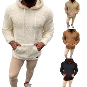 Erkekler Kış Yumuşak Faux Kürk Teddy Bear Hoodie Kapşonlu Cepler Kazak Kazak Rahat Erkek Kapşonlu Ince Kazak Ceket Dış Giyim