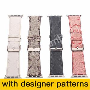 G Designer Watchbands 시계 밴드 42mm 38mm 40mm 44mm iwatch 1 2 345 밴드 가죽 스트랩 팔찌 패션 줄무늬 드롭 배송