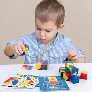 Wooden Block Puzzle Preschool Baby 3D Jigsaw Puzzle Pixy cubes Spatial Learning Educational Monterssori Wooden Toys for Children