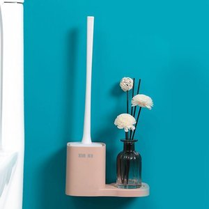 Wall pendurado pincel escova de banheiro limpeza escova toalete limpo ferramenta com base perfurada casa casa de banho acessórios h bbyjto