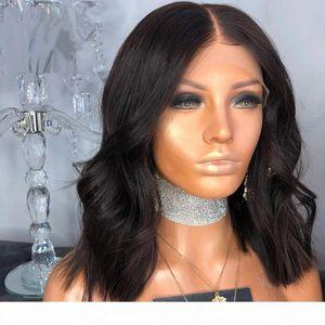 Heißen Verkaufs-Kurzschluss-Wellen-Spitze vorne und volle Spitze-Perücke brasilianische Menschenhaar-Perücken mit Bbay Haar-natürlichen Farben für schwarze Frauen