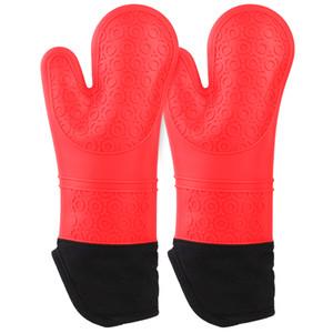 El vapor de silicona Aohels mitones del horno Conjunto resistente al calor guantes flexible horno de cocción de los mitones para Cocina que cocina a la parrilla, rojo (sólo en EEUU)