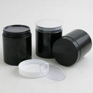 20 x Empty 250G Black PET Jars with White Plastic Screw Lids 250ml 8.33OZ Cream Container With PE Pad