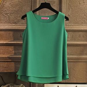 Banerdanni Frauen-Hemd 2020 die neue Ankunft sleeveless Chiffon- Blusen-Sommer-beiläufiger O-Ansatz Blusen-Qualitäts-Frauen Bluse Y200622 B1au #