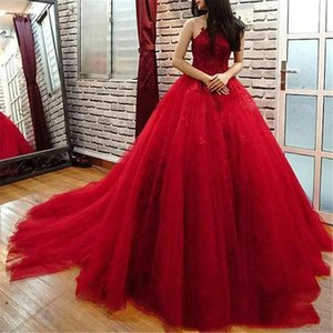 New Long Dark Red Ball Gown Evening Dress Lace Appliques Beads Tulle Puffy Floor Length Formal Prom Party Gowns Custom Made