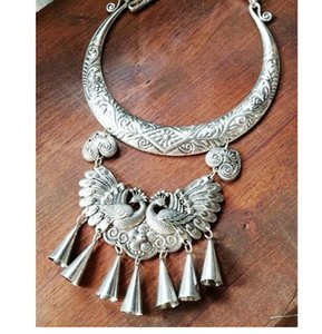 Ethnic Tibetan Miao silver big palace collar necklace jewelry peacock dance Miao silver accessories