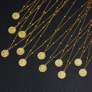 12 Segno zodiacale Collane Gold Round Coin Collana Collana con costellazione di monete per le donne Gioielli moda regalo di compleanno Dropshipping
