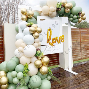 116pcs Partei Ballon Garland Kit weißer Ballon Bogen Retro Grün Chrom Gold Foil-Liebe-Wedding Ballon-Brautparty-Dekor 1027
