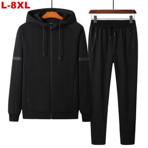 2021 New Big Size 8xl 7xl 6xl Hooded Men's Tracksuit Sets Oversized 2 Pieces Sportswear Men Zipper Hoodie Sweatsuits Jackets Pants Male Psfx