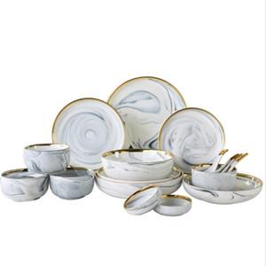 Lamer oro nórdico mármol textura de vajilla de cerámica Placas de cena redondas platos de sopa arroz Platos cuencos condimentos gris libre de DHL