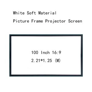 Thinyou Wall Mounted Projection Screen 100inch 16:9 Picture frame HD projector screen White Soft Material Ultra narrow 1CM frame