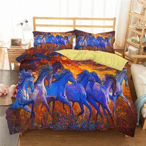 Ev Tekstil ile Yastık Yorgan Nevresim Qnon # Boyama Yatak örtüleri Yatak Odası Giyim 3D At Grubu Yağı