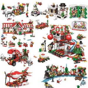 Créateur Amis Village d'hiver de Noël City Train Montgolfières Ensembles blocs de construction Père Noël Figures Briques Jouets Cadeaux LJ200928