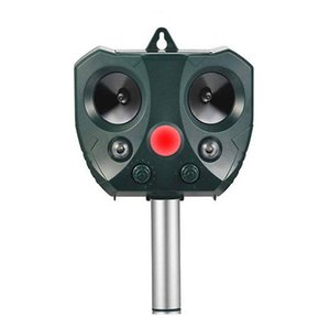 Waterproof Outdoor Animal Repeller with Ultrasonic and LED Flash to scare off birds, racoons and other wild animals,