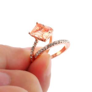 Na moda requintado rosa cor de ouro quadrado anéis de baguete conjunto para mulheres cheias de zircônia cúbica de pedra de pedra de casamento de pedra jóias