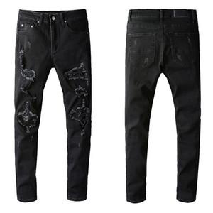 Nova Designer de Mens Heavy Industry Reparar jeans rasgados azul listra estilo vintage moda homens buracos jeans moto motocicleta motocicleta homens causal homens