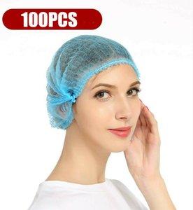 Free Shipping! 100pcs Disposable Hair Net Bouffant Cap Non Woven Stretch Dust Cap Head Cover 002