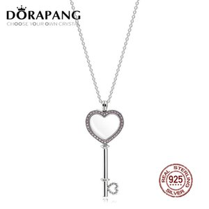 2018 Valentine's Day Newest 100% 925 Sterling Silver pandora Pink Heart shaped Big key Floating Locket for Women Fashion Jewelry