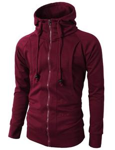 New Men Hooded Sweatshirt Casual Solid Zipper Hoodies Male Hip Hop Streetwear Pullover Hoody Tracksuit Spring Mens Hoodies Slim