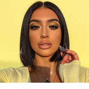 Cheap Unprocessed Peruvian Malaysian Indian Straight Bob 13x4 Lace Front Wig Full Lace Human Hair Natural Color For Black Women 8~14 inches
