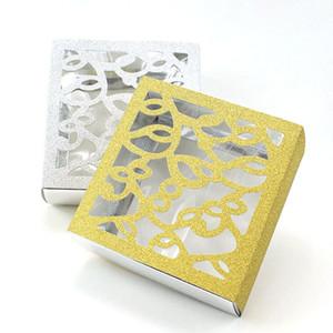 AVEBIEN 10pcs Glitter Hollow Cake Box Handmade Chocolate Package Blank Storage Wedding Kraft Macaron Gift Bags Bread Packing Box 201225