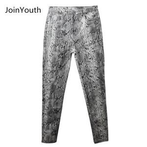Joinyouth mujeres serpiente impresión lápiz patrón pantalones damas alta cintura flaca moda estiramiento otoño invierno elástico femenino pantalones lj201030