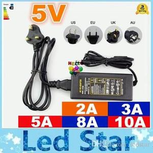 Atacado-EU / EUA / UK / Au Adapter de fonte de alimentação LED transformador AC 110-240V para DC 5V 2A 3A 5A 8A 10a LED Tira