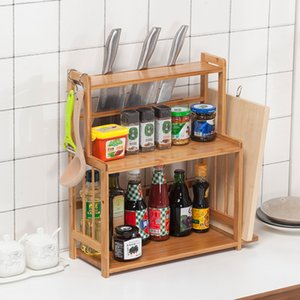 Multi-function Spice Rack Wooden Natural Bamboo Storage Organization For Home Kitchen Woman Beautiful Life Housekeeping Tools