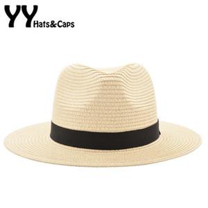 Vintage Panama Hat Men Straw Fedora Male Sunhat Women Summer Beach Sun Visor Cap Chapeau Cool Jazz Trilby Cap Sombrero YY17161