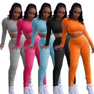FIXSYS Stacked Pant Sets Women Fall Clothing 2020 Long Sleeve Crop Top & Pants Sexy Solid Color Outfits Two Piece Matching Set