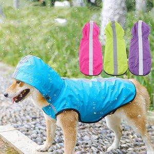Pet impermeável pequena Raincoat grandes roupa ao ar livre Vest Brasão cachorrinho com capuz Chuva Jacket Reflective Big Dog poncho malha