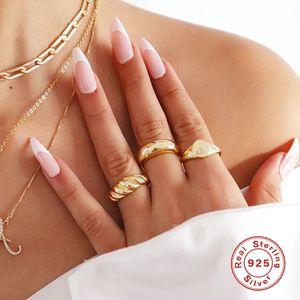 Canner 2021 Neue Croissant 925 Sterling Silber Ringe Ring Für Frauen Kreative 18 Karat vergoldet Damen Ringe Schmuck Anillos J1225