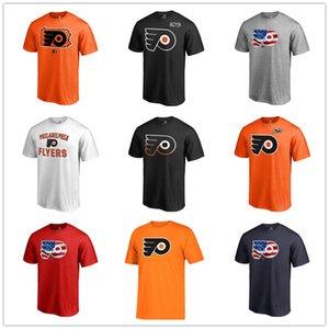 Филадельфия Флайерз Mens T Shirt Черный Белый Оранжевый вентиляторы Топы Тис моды футболки хоккей Джерси хлопка с коротким рукавом Печатный шейных