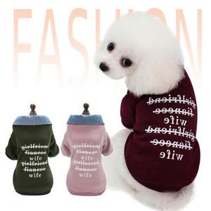Mektup Baskılı Pet Giysi Tasarımcı Köpek Giyim Cilt Dostu Köpek Giysileri Moda Ceket Denim Yaka Kazak Açık Dış Giyim Toptan