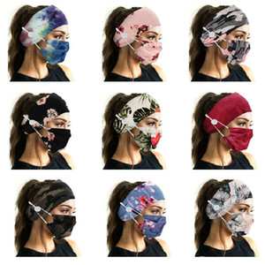 Cute Lady Girl Print Floral Camouflage Fashion Button Anti-stroke Soft Headband with Face Mask Set Yoga Sports Elastic Hair band