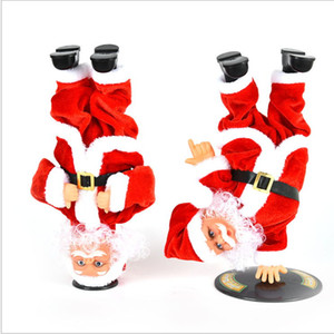 Manufacturer's new electric inverted street dance Santa Claus doll with music children's toys ornaments Christmas gifts