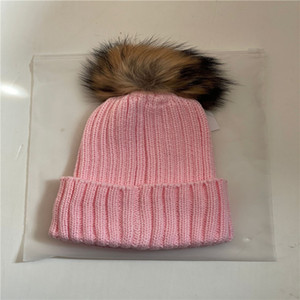 2020 Wholesale beanie New Winter caps Hats Women bonnet Thicken Beanies with Real Raccoon Fur Pompoms Warm Girl Caps snapback pompon beanie