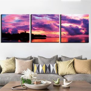 3 Panel Modern Canvas Print Art Wall Picture Sunset Scenery Paintings Decor Artwork Canvas Print For Home Office Living Room Bedroom