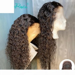 Tutkalsız 4x4 Dantel Kapatma Peruk Sassy Kıvırcık İnsan Saç Peruk Kadınlar için 150% Siyah Renk Perulu Remy Saç Dantel Slove Rosa