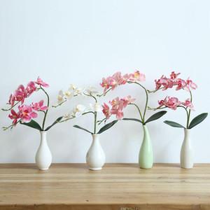 라텍스 가짜 꽃 phalaenopsis 난초 꽃 진짜 터치 인공 나비 난초 줄기 식물 중심의 실리콘 꽃 4