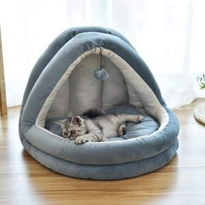 Removable Cat Bed House Kennel Nest Pet Nest Sofa With Ball Toys Dog Kennel Sofa House Cushion Cat Pet Products Kitten Bed Case