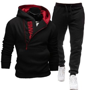 Casual Tracksuit Men Hoodies And Pants Two Piece Sets Pullover Side Zipper Hooded Sweatshirt Outfit Sportswear Male 201109