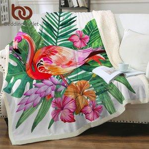 BeddingOutlet Flamingo Samtplüsch Decke Tropische Pflanze Mädchen Bettwäsche Sherpa Decke für Couch Blume battaniye